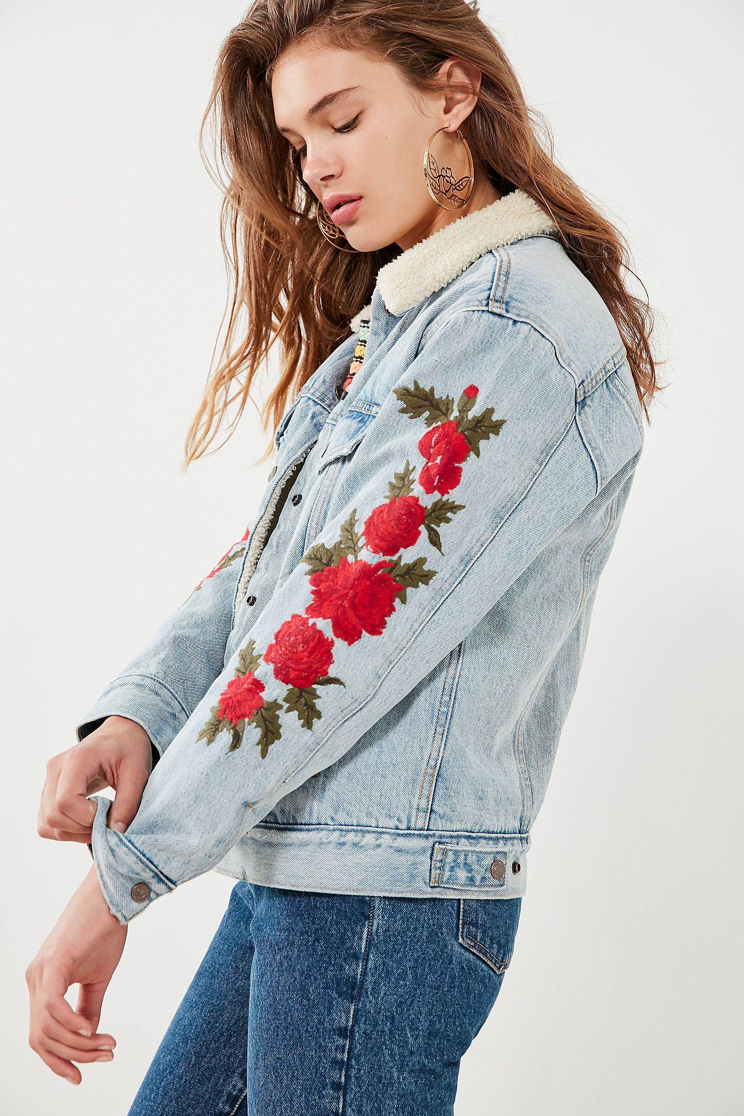 Levi S Embroidered Rose Sherpa Ex Boyfriend Denim Jacket Boyfriend Denim Jacket Denim Jacket Women Denim Jacket [ 2175 x 1450 Pixel ]