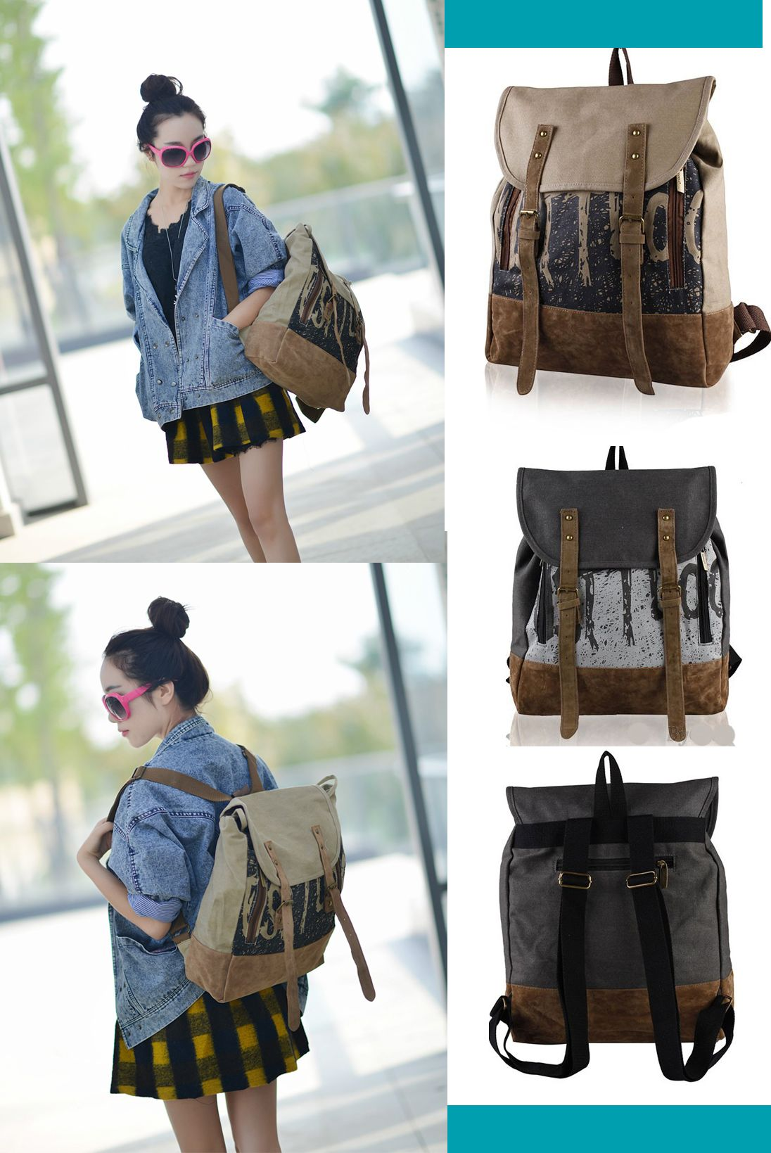 b346d9b1f948 2017 New Arrival Retro Women s Casual Canvas Backpack Laptop Bag backpack  trends 2017