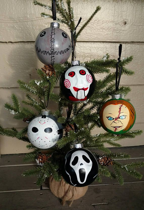 Horror Christmas Ornaments.A Set Of 5 Hand Painted Christmas Ornaments Consisting Of