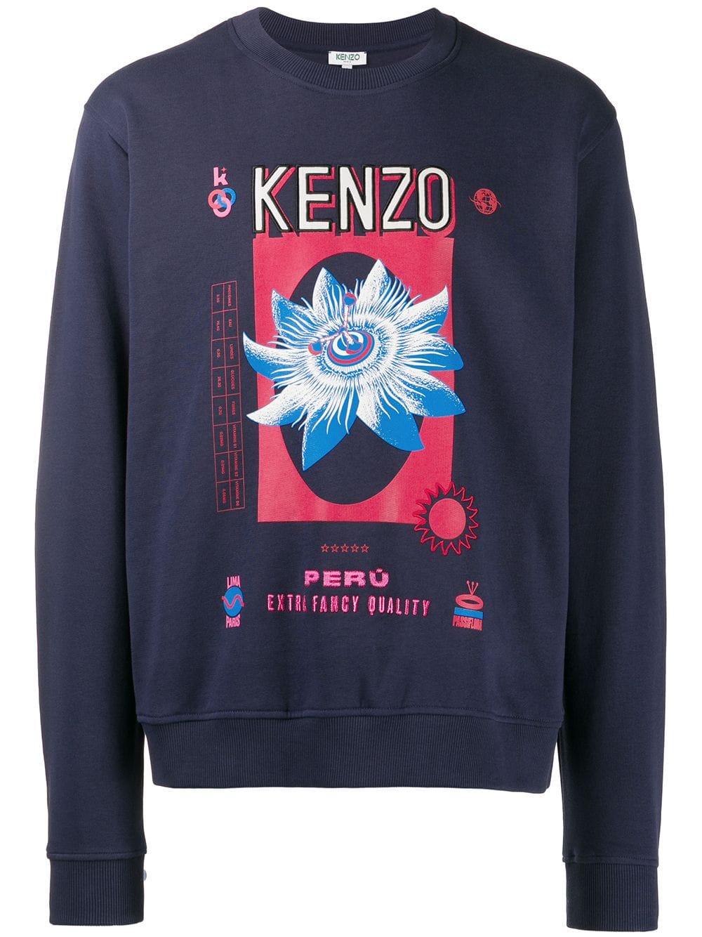 Kenzo Knits Logo Print Sweatshirt Printed Sweatshirts Sweatshirts Fashion Typography [ 1334 x 1000 Pixel ]