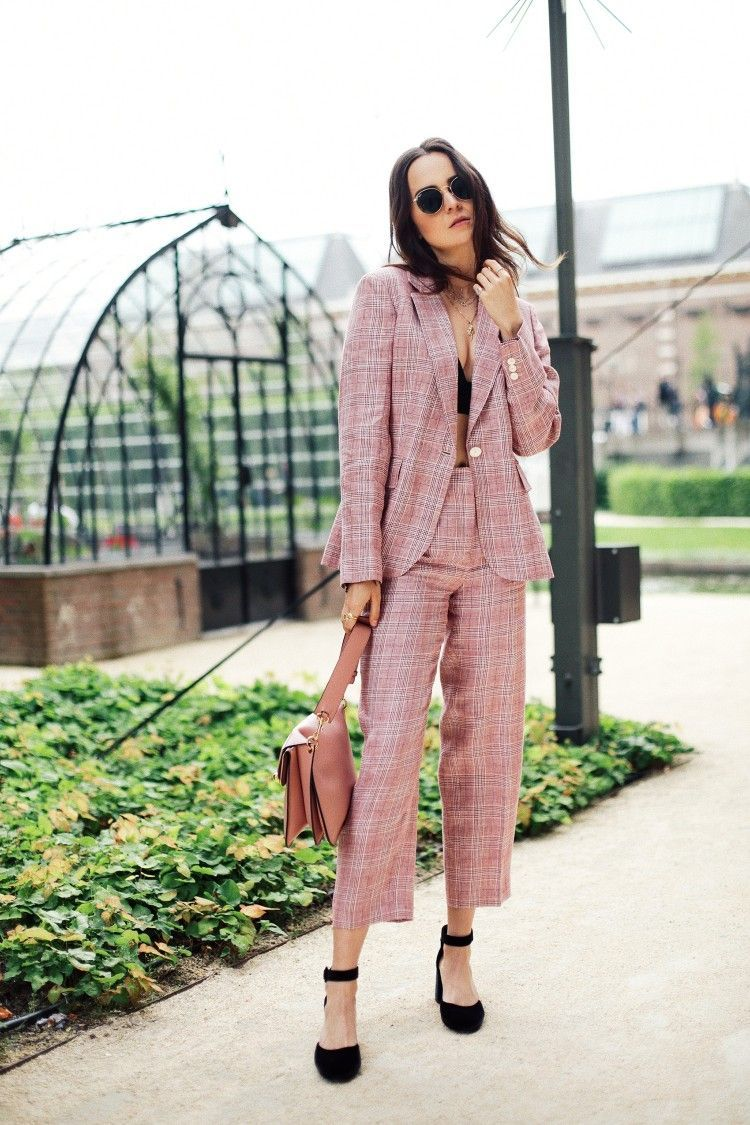 9a867b4eb7f Pink plaid matching outfit Street style