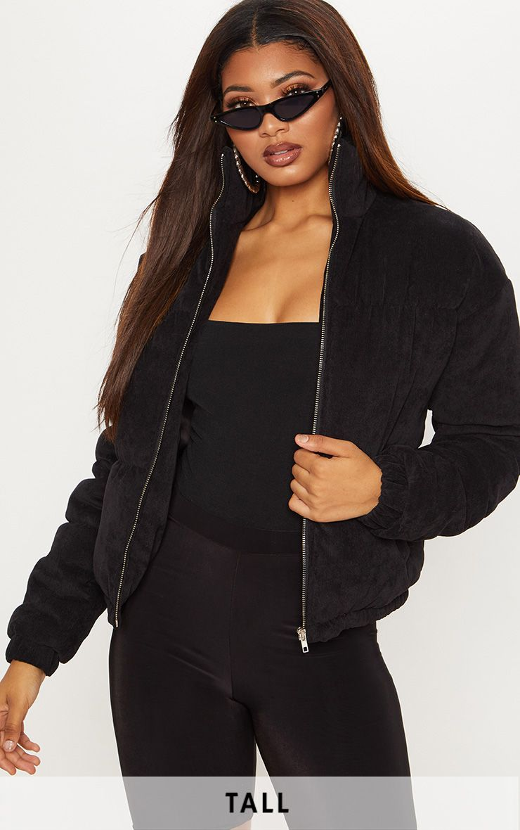 Tall Black Cord Puffer Coat   Puffer coat, Pu leggings ...
