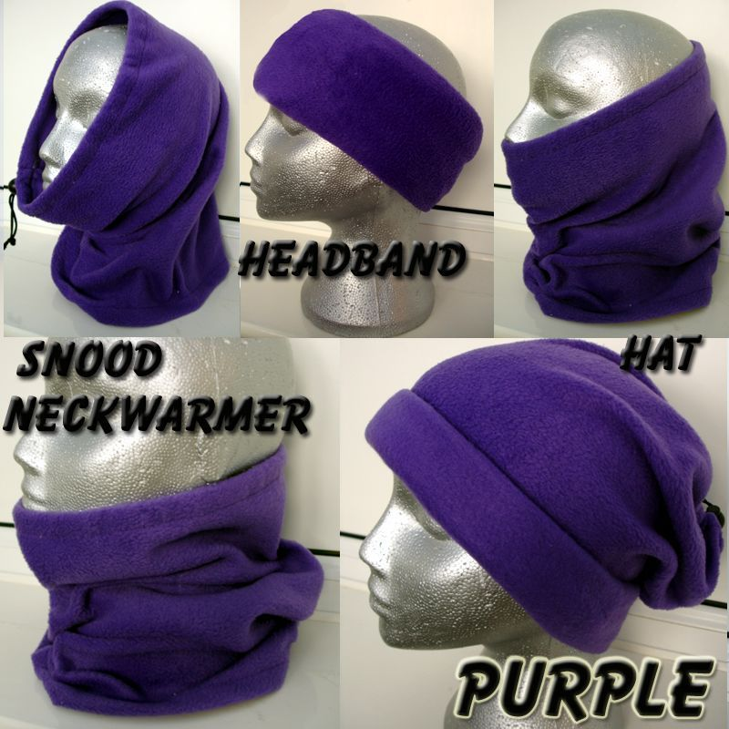 ADULT 6in1 PURPLE SNOOD polar fleece neck warmer gaitor scarf hat beanie ski  in Clothes 1c64bbd75bbe
