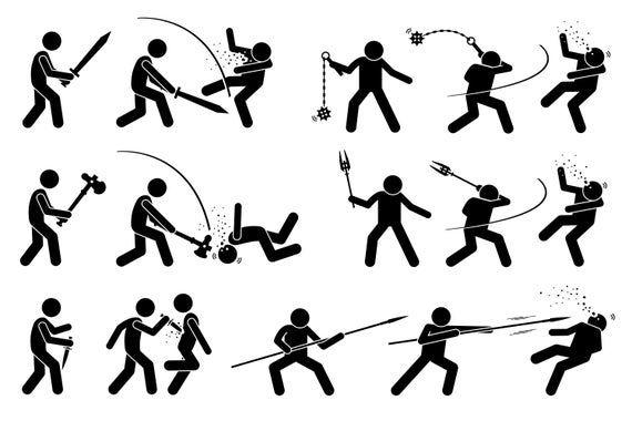 Stick Figure Stickman Cartoon Character Fight Fighting Weapon Etsy In 2020 Stick Figures Stick Figure Fighting Stick Figure Drawing
