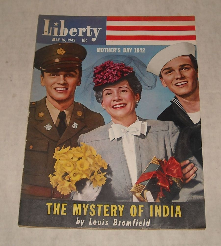 May 16, 1942 LIBERTY LITERARY MAGAZINE MOTHER's DAY Photo Cover PATRIOTIC