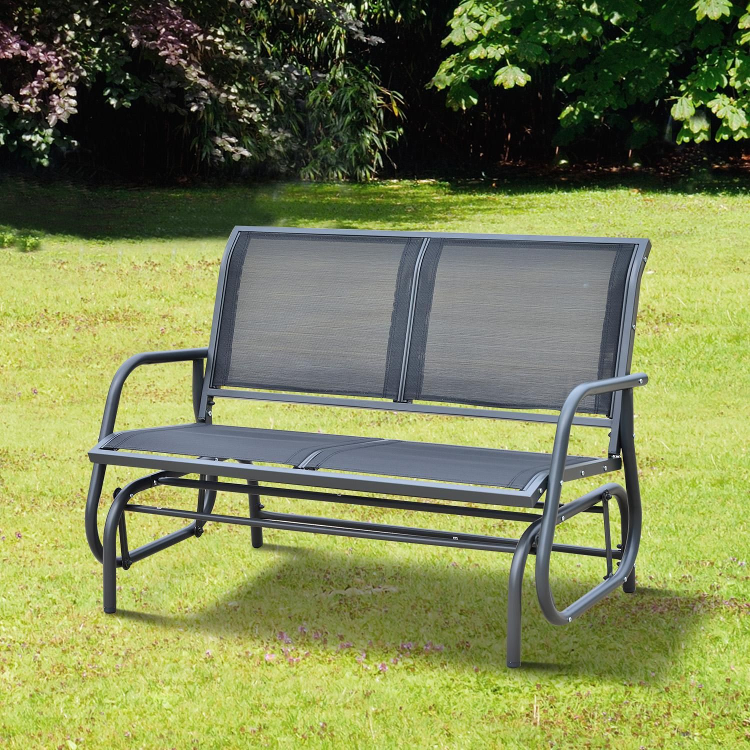 Outsunny 48 Outdoor Patio Swing Glider Bench Chair Dark Gray