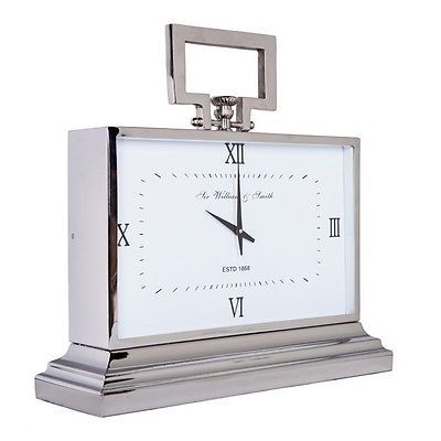 Large Silver Table Mantel Clock 47cmw White Sir William Smith Square Nickel Clock Decor Large Clock Clock