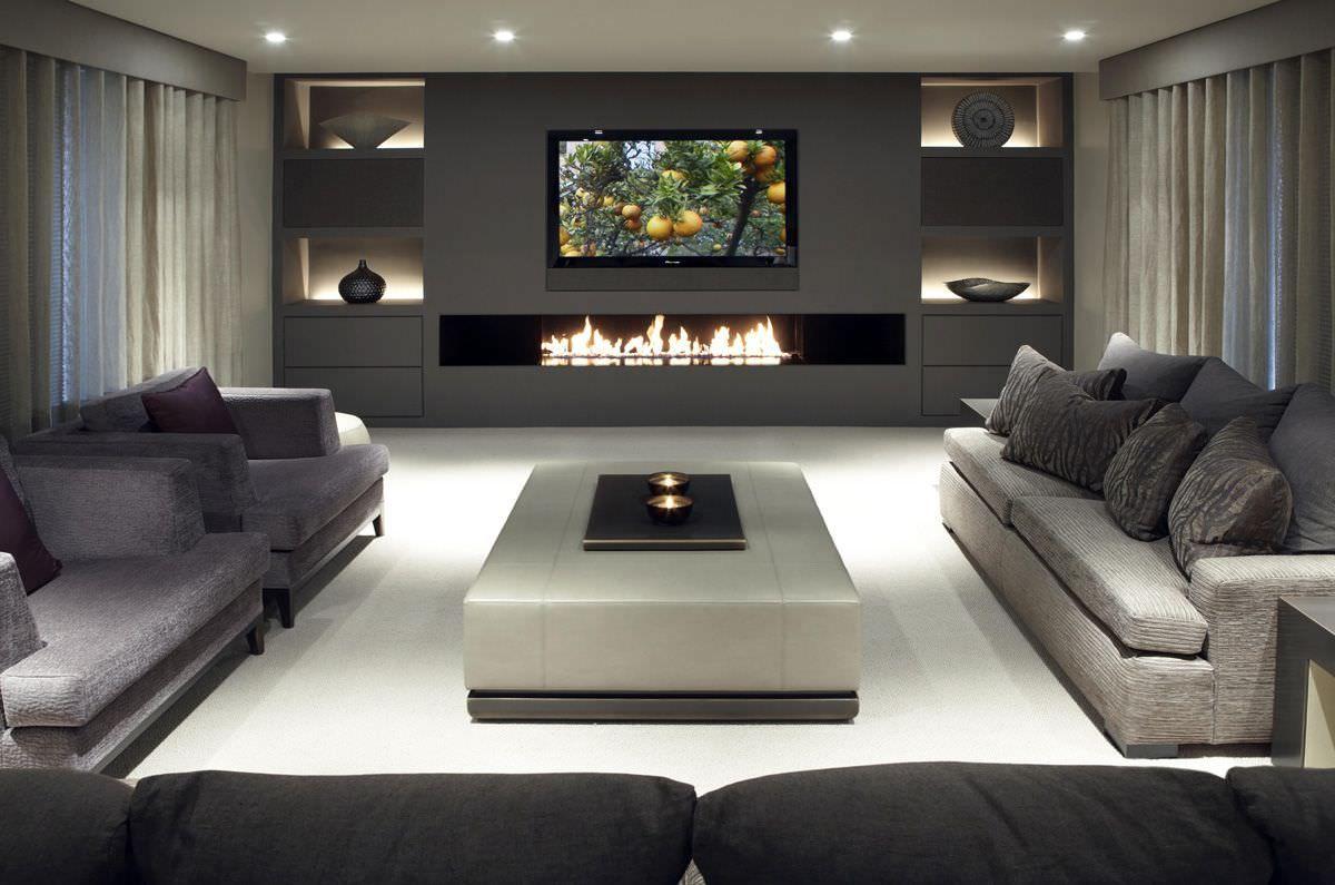 parete attrezzata in cartongesso con camino e tv