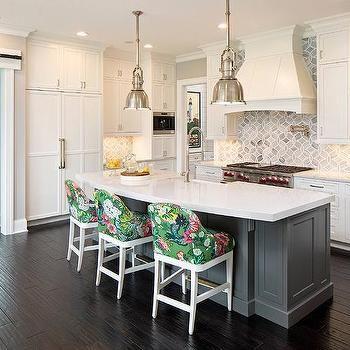 gray kitchen island with curved white quartz countertop grey kitchen island grey kitchen on kitchen island ideas white quartz id=39459