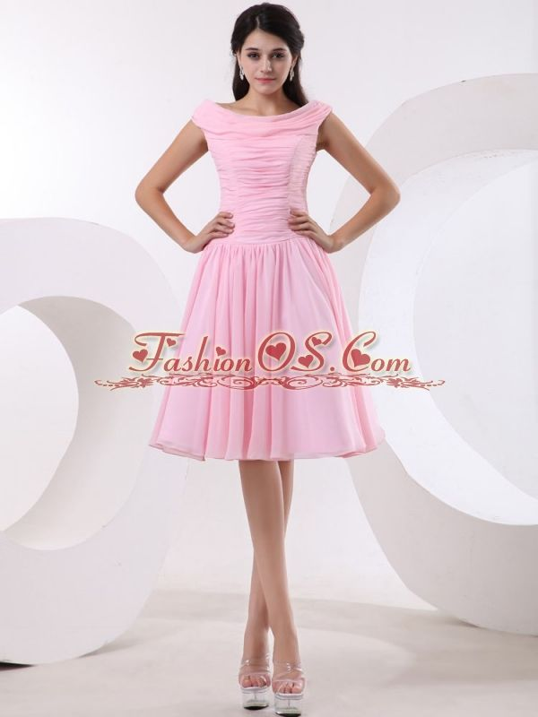 Bateau Baby Pink Prom Dress With Ruched Bodice- $135.35 www ...