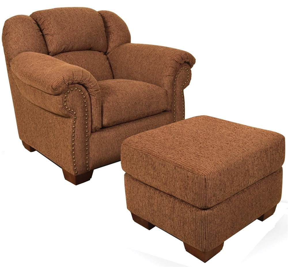 Overstuffed Chair And Ottoman With