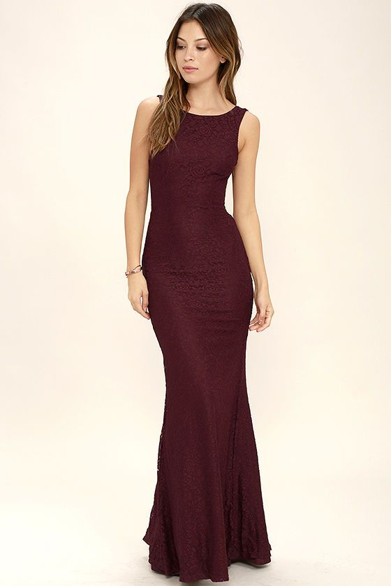 c3a4315b422 A fantastic night awaits you in the Magic in the Air Burgundy Lace Maxi  Dress! Beautiful floral lace shapes a rounded neckline