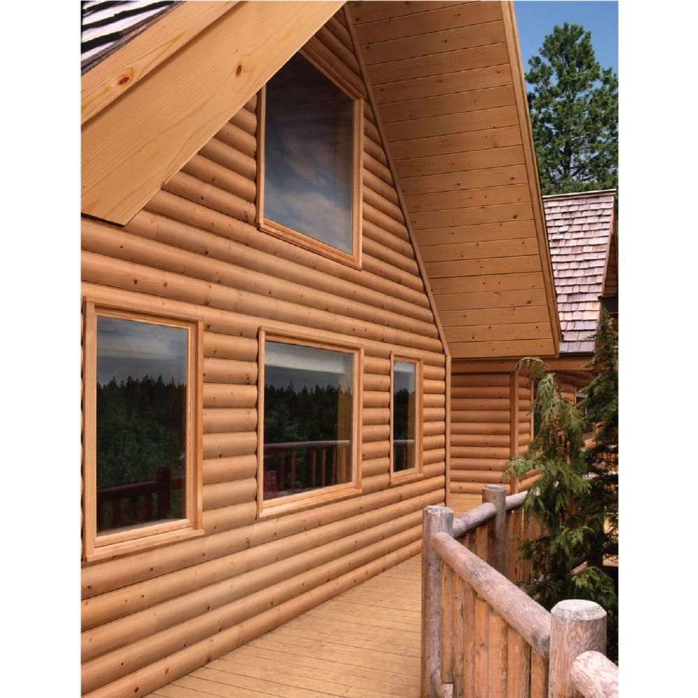 2 In. X 8 In. X 12 Ft. Log Cabin Wood Siding Board