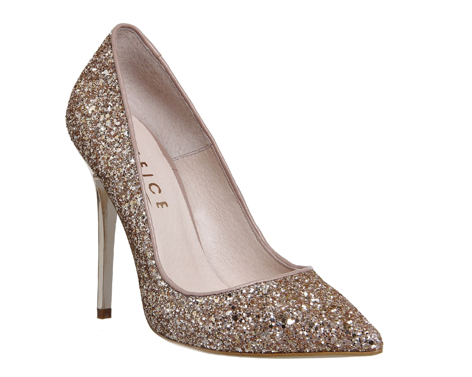 Buy Rose Gold Glitter Office On To Point Court Heels from OFFICE ...