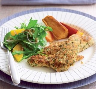 Crumbed chicken with rocket salad and wedges healthy food guide crumbed chicken with rocket salad and wedges healthy food guide forumfinder Images