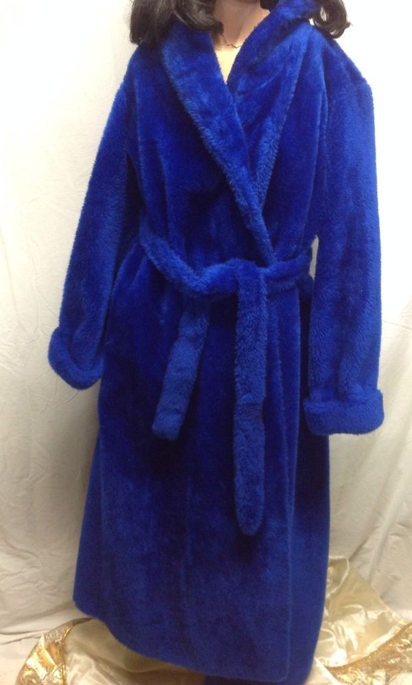 fcdd0858541 Vintage BORG Royal Blue Faux Fur Plush Fabric Full Length Robe Euc L ...