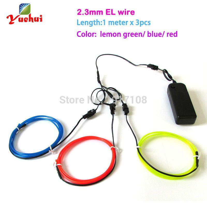 Trendy 2.3mm 1M 3pieces multicolor flexible EL wire ...