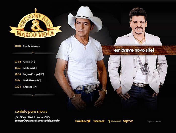 Teaser site da dupla sertaneja Brenno Reis & Marco Viola. A dupla, formada em 1998 já conta com oito discos em sua discografia, além de um DVD.