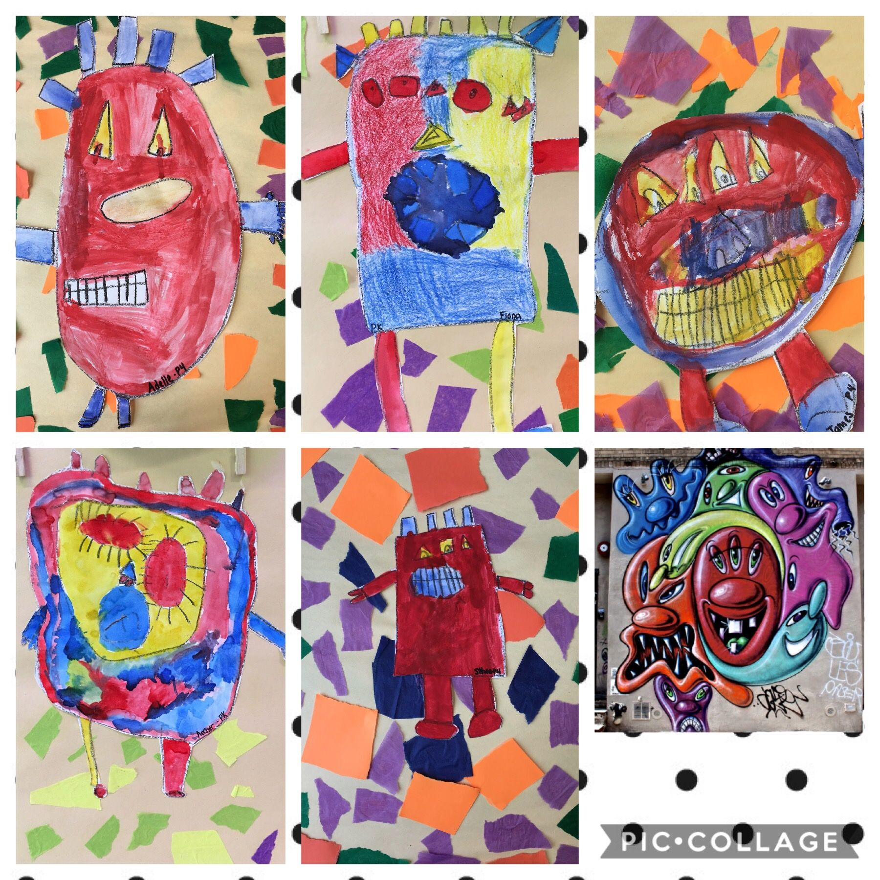 Graffiti artist from nyc pre k students geometric shapes primary color in painting and secondary colors in the collaged background