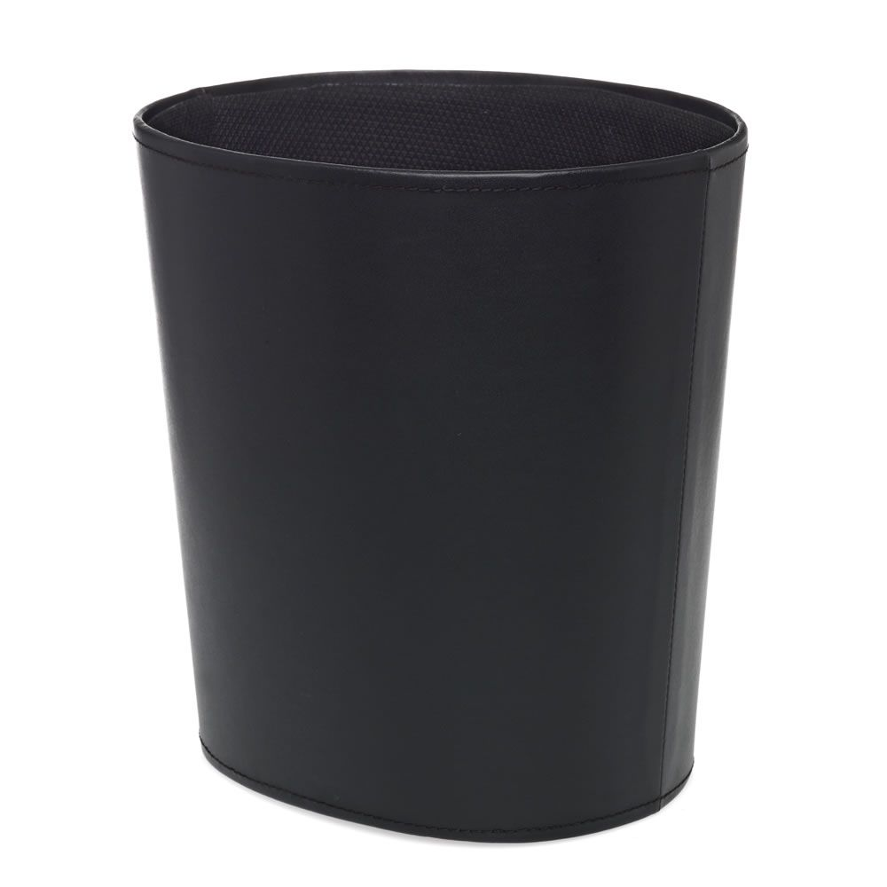Waste Paper Bin Oval Faux Leather Black | Bins | | Storage From Wilkinson  Plus