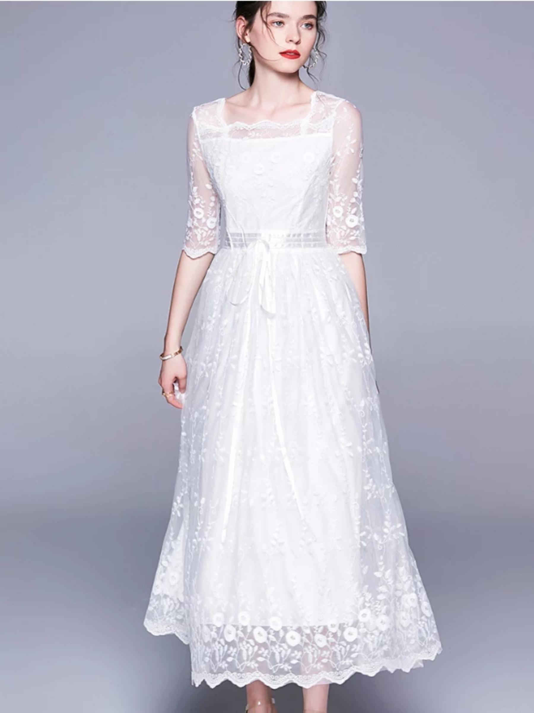 Cross Over Vintage Fairy Dress Super Fairy White Lace Dress Lace White Dress Boho Summer Dresses Lace Dress [ 2400 x 1800 Pixel ]