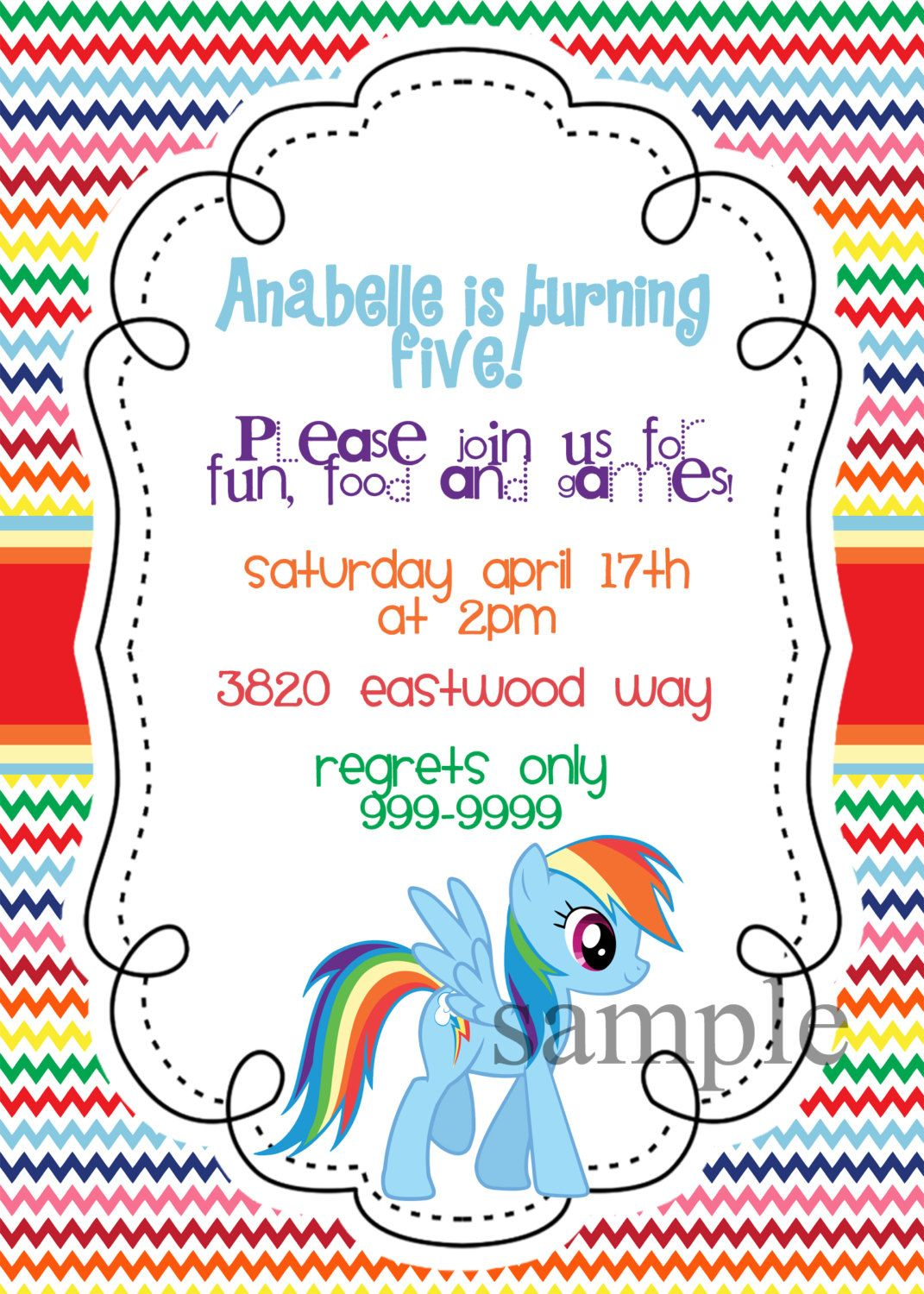 My Little Pony Invite Rainbow Dash Birthday Party