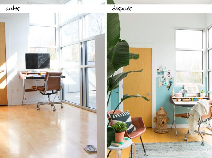 ¡Buenos días! Hoy, en el blog, nos centramos en cómo con un toque de pintura podemos llegar a cambiar tanto un ambiente. Mirad: http://www.micasanoesdemuñecas.com/antes-y-despues-cambiar-una-oficina-con-un-toque-de-pintura/