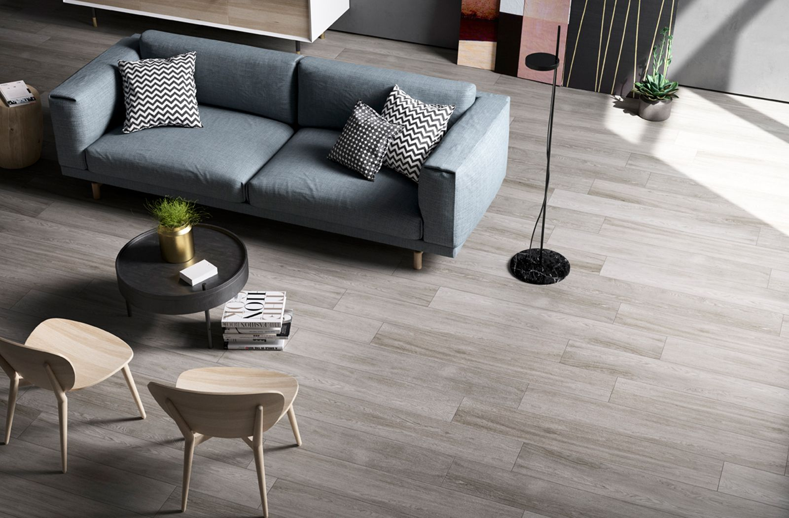 Modern Scandinavian decor idea with Q-Style tile from Cooperativa Ceramica  d'Imola.