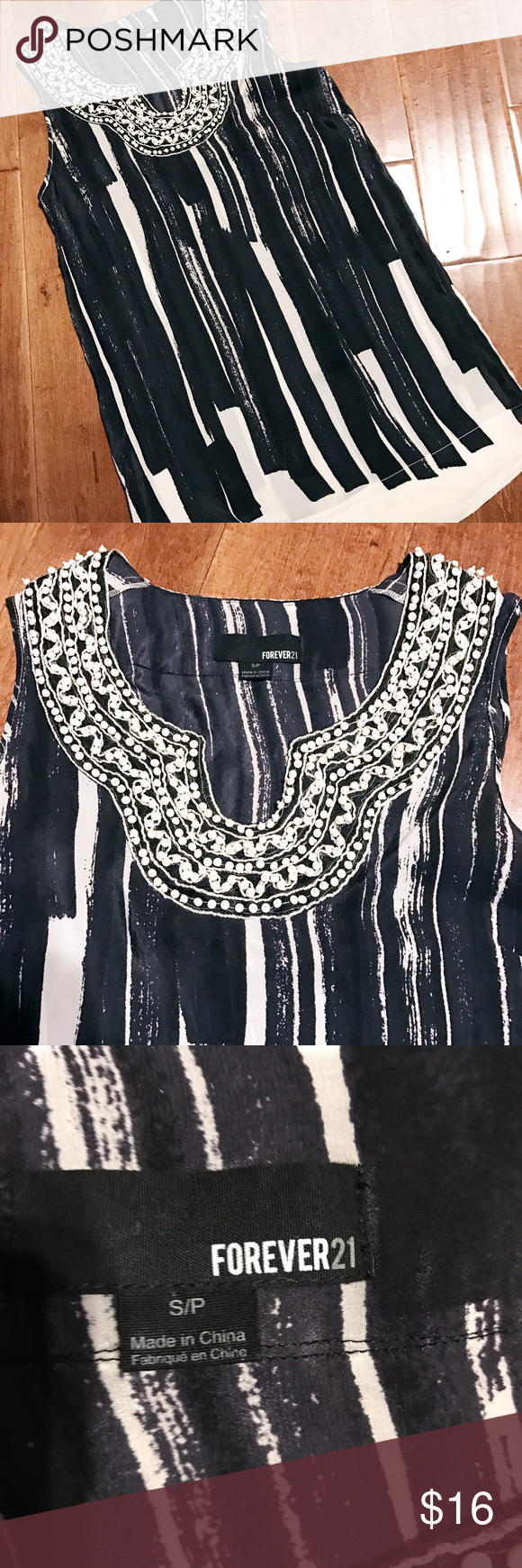 F21 Silk Beaded Tank 100% Silk Forever 21 beaded tank. Navy blue and white, in great condition. Forever 21 Tops Tank Tops
