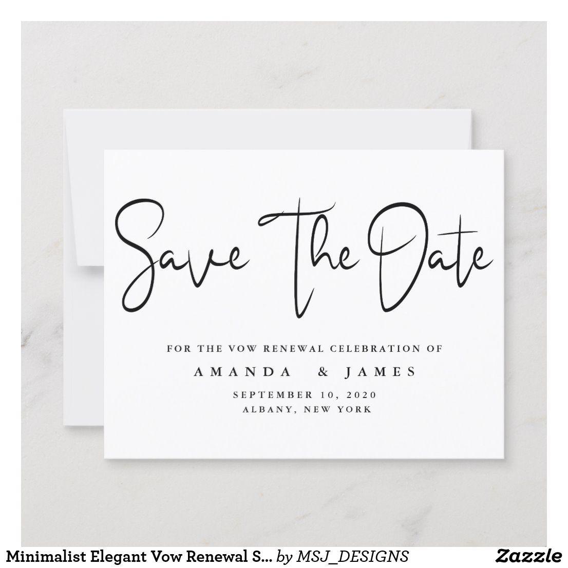 Minimalist Elegant Vow Renewal Save The Date Announcement Zazzle Com Save The Date Vows Vow Renewal