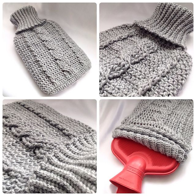 Cozy Cable Hot Water Bottle Cover pattern by Ling Ryan | Patrones de ...
