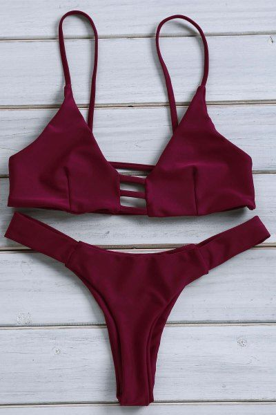 c3ed970274 Solid Color Spaghetti Strap Lace Up Bikini Set WINE RED  Bikinis ...