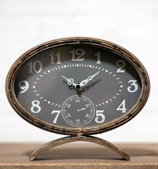 Great Rustic Metal Oval Table Clock