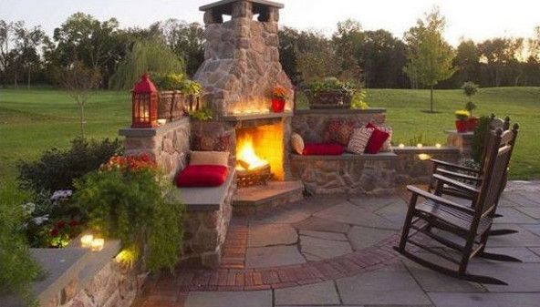 Beautiful Wooden Rocking Chairs Near By Outdoor Corner Stone Fireplace