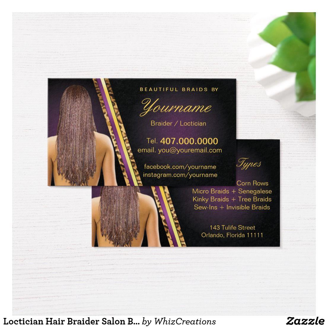 Loctician Hair Braider Salon Braids Business Card | Pinterest | Hair ...