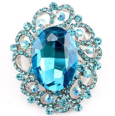 Aquamarine Fine Austrian Rhinestone Crystal Exquisite Bridal Wedding Brooch Pin | eBay