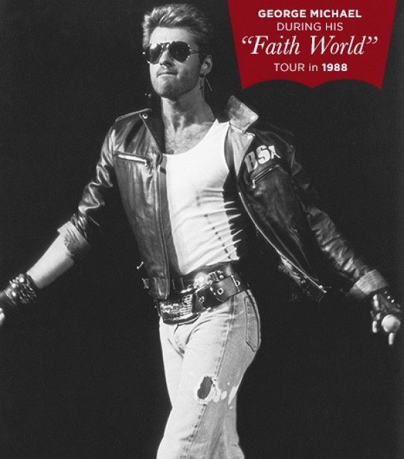 Our Favorite Denim Moments Throughout The Years via @WhoWhatWear - George Michael George Michael gave Brando's biker look the '80s treatment when he styled worn-in, light-wash jeans with a hand-painted Birmingham Small Arms leather jacket.