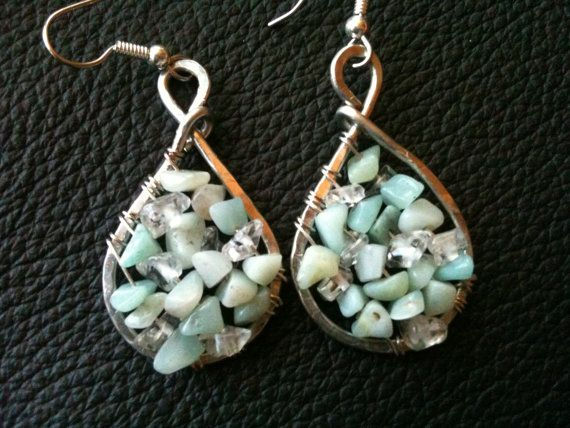 Amazonite and Clear Quartz gemstone silver textured earrings by BLLstudio