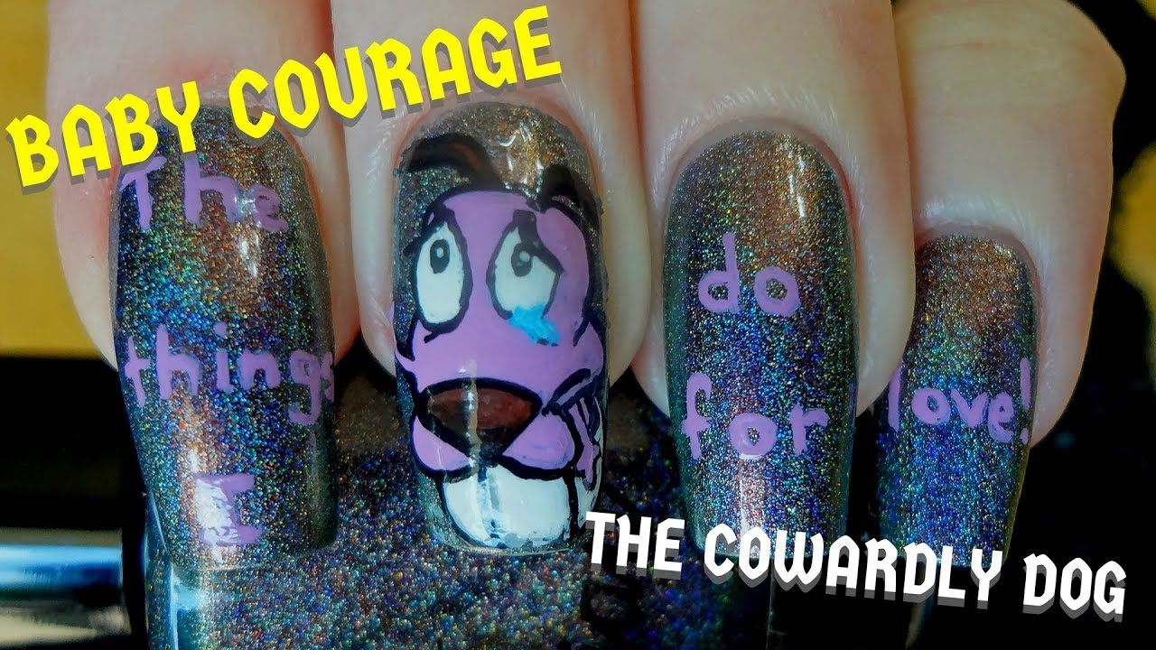 Cute Baby Courage the Cowardly Dog DIY Freehand Nail Art