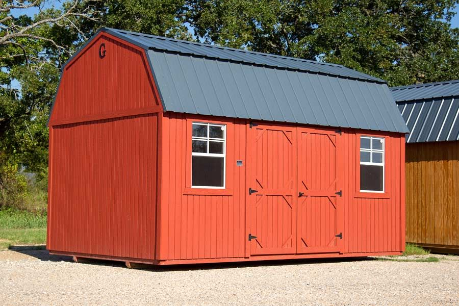 This Is Our Graceland Side Lofted Barn This Great Storage Barn Comes In Sizes From 8x12 To 14x40 All Our Buildings Portable Buildings Shed Homes Best Barns