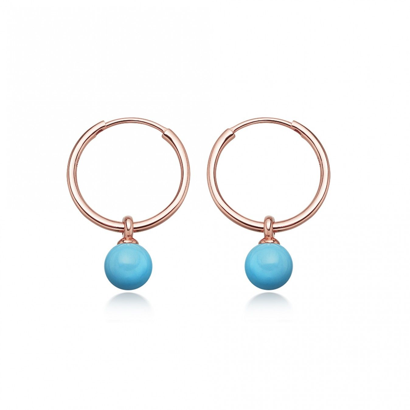 da7630904 Rose Gold Vermeil Turquoise Vera Drop Hoop Earrings WITBLOG Opal Gemstone,  Turquoise Gemstone, Rose