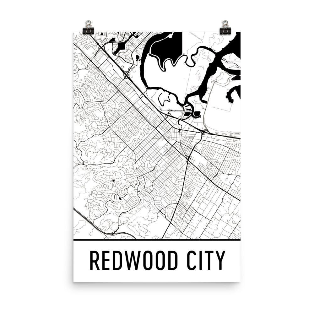 Redwood City CA Street Map Poster | Products | City art ...