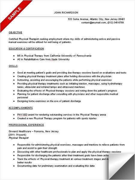 Physical Therapist Resume Sample Objective Skills Resume Examples Job Resume Examples Resume Template
