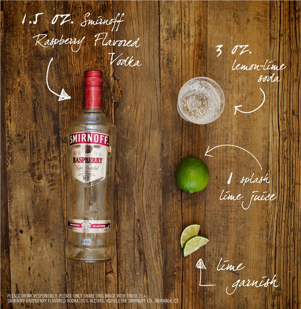 Raspberry Cooler Drink Recipe: 1.5 oz SMIRNOFF® Raspberry Flavored Vodka, 3 oz Lemon-Lime Soda, 1 splash(s) Lime Juice, 1 slice(s) Lime. Fill glass with ice. Add SMIRNOFF® Raspberry Vodka, soda, and lime juice. Stir well. Garnish with lime slice. #raspberryvodka