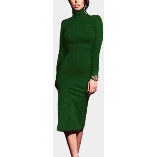 de6b680e85f3 Yoins Green Solid Color High Neck Bodycon Midi Dresses ($21) ❤ liked on  Polyvore