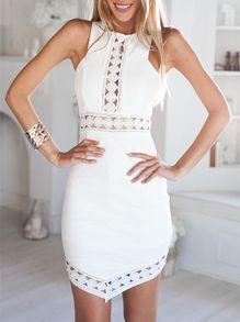 White Semiformal Sleeveless Hollow Dress -SheIn(Sheinside)
