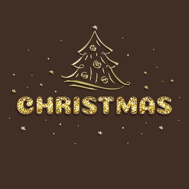 Volumetric Inscription Christmas With Gold Granules