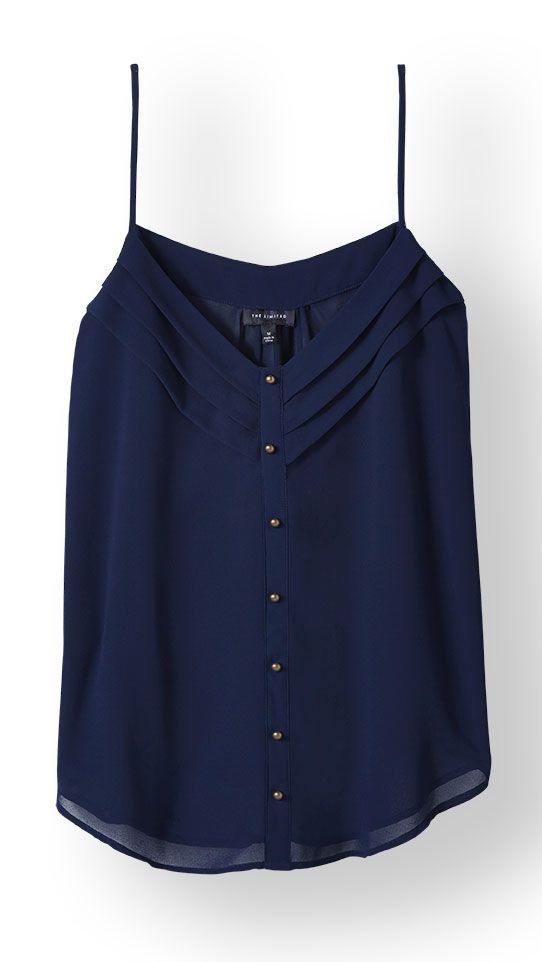 Pleated V-Neck Cami from THELIMITED.com #TheLimited #Layering #Feminine #OfficeChic #Flattering #Polished #FallFashion