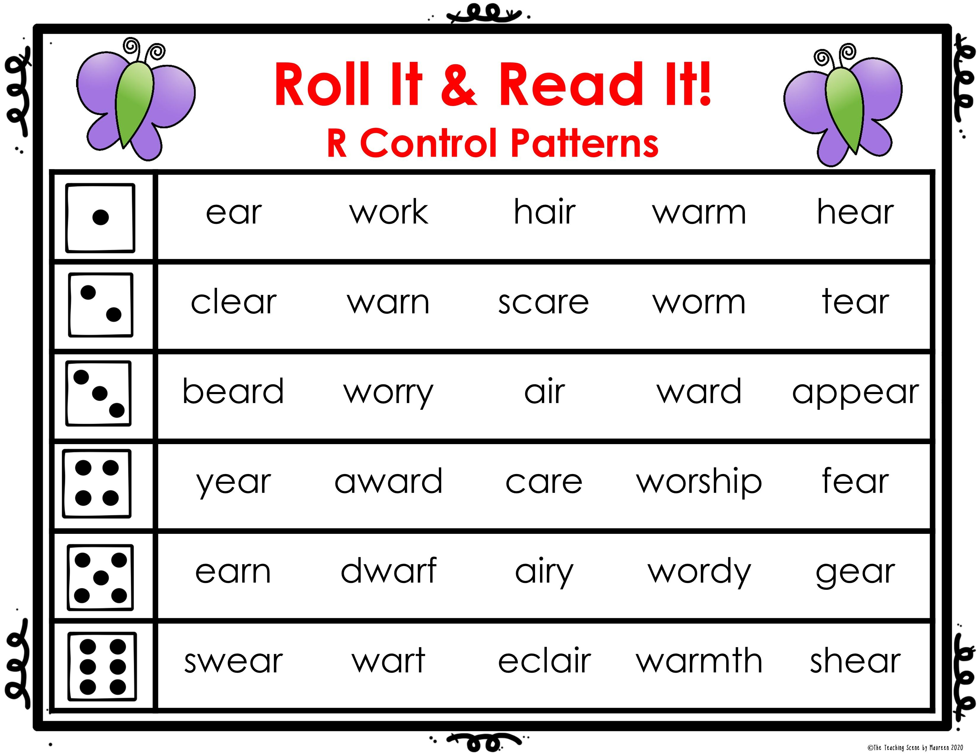R Control Patterns Roll It Read It Game Cards War Wor