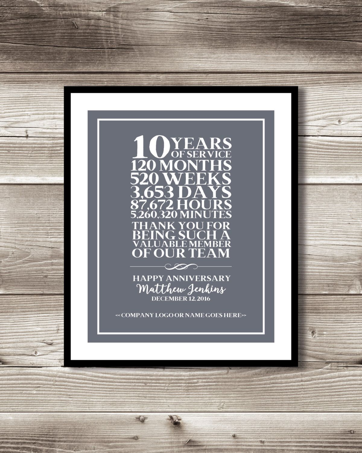 10 Year Work Anniversary Print Gift Idea Customizable Thank You Gift Years Of Service Employee Recognition Appreciation Gift Work Anniversary 25 Year Anniversary 20 Year Anniversary Gifts